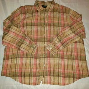 Lauren Ralph Lauren Linen Plaid Shirt 3XL